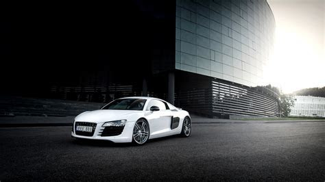 Download Wallpaper 1920x1080 Audi, R8, White, Building Full HD 1080p HD Background