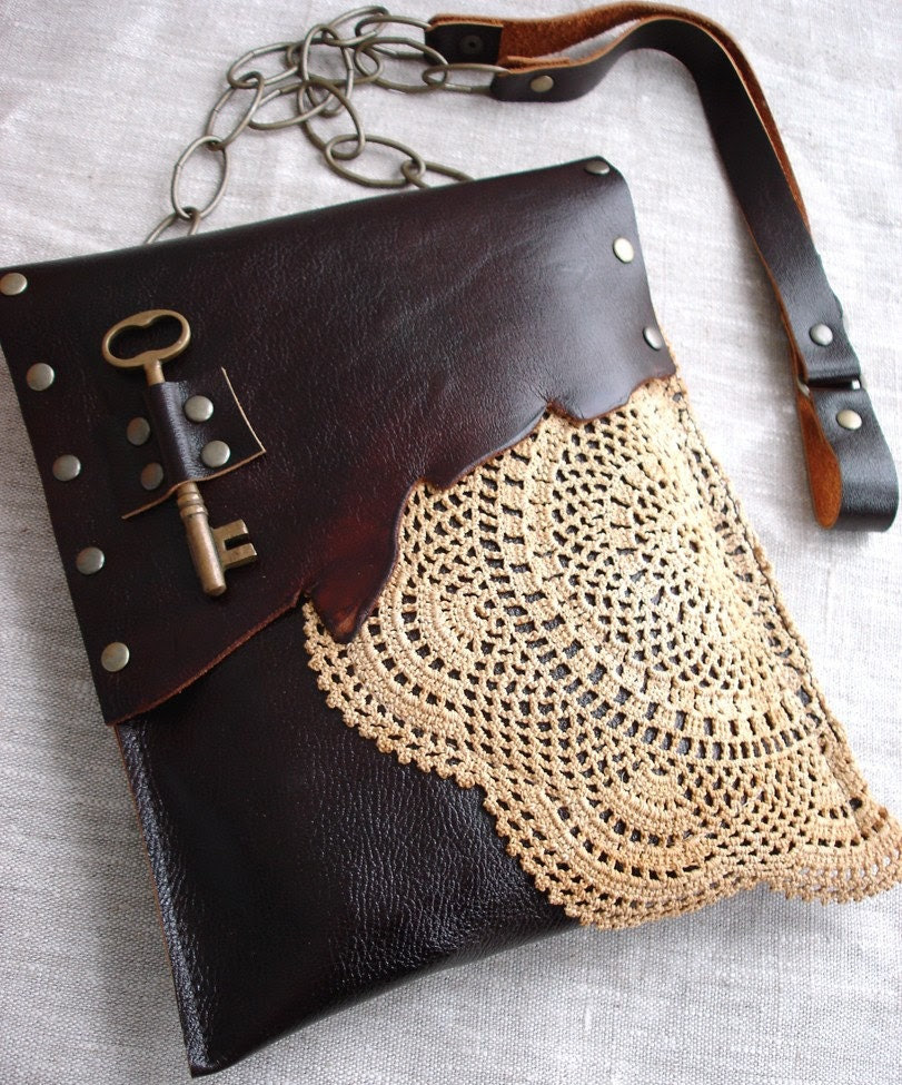 CUSTOM for CASIADK: Leather Boho Festival Granny Bag with Crochet Doily and Antique Key One Of A Kind