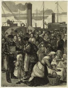 Irish immigrants leaving Queen... Digital ID: 833677. New York Public Library