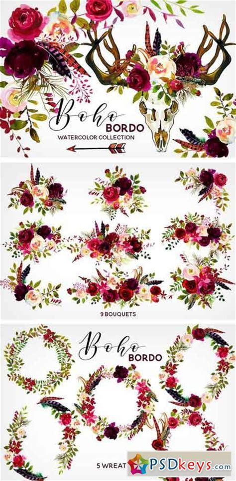 Boho Bordo Watercolor Flowers 1341159 » Free Download