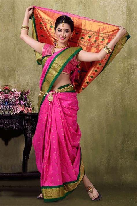 Paithani 9YDS Majanta Color Saree   marathi   Saree