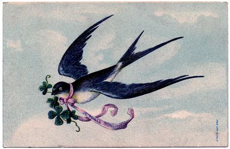Lovely, lovely Swallow with Pink Ribbon Garland   French