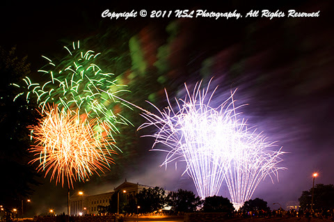 Fourth of July fireworks at the Philadelphia Museum of Art