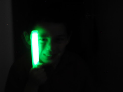 Adam's scary glow stick face