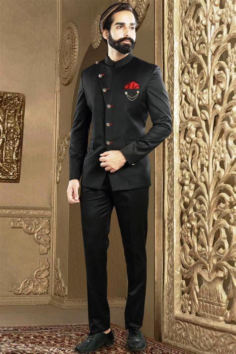 Designer Mens Wear Jodhpuri Suit In Black Rayon from