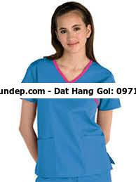 Đồng phục điều dưỡng 07 thiết kế cổ áo chữ V may viền màu độc đáo, mặt sau lưng áo  Đối tượng sử dụng: Bệnh viện, ,Trung tâm y