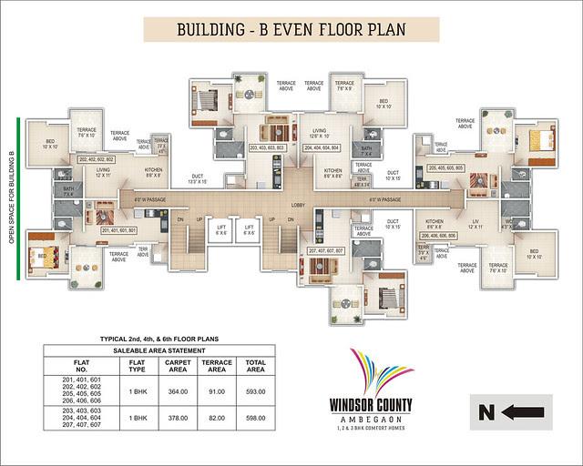 Windsor County Ambegaon Budurk - B Building - Even Floor Plan