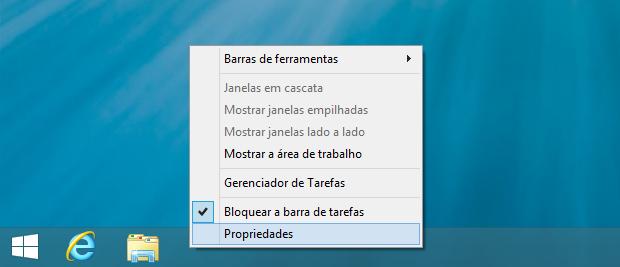Acessando propriedades da taskbar (Foto: Reprodução/Helito Bijora)