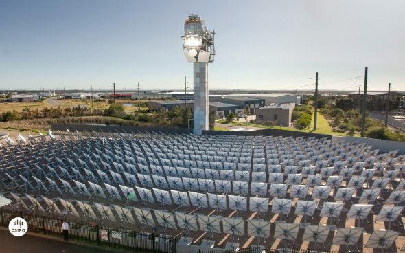 A solar field like this one at CSIRO in Newcastle can add energy from the sun to natural gas. This could help remote towns and outback mines save money and reduce emissions.