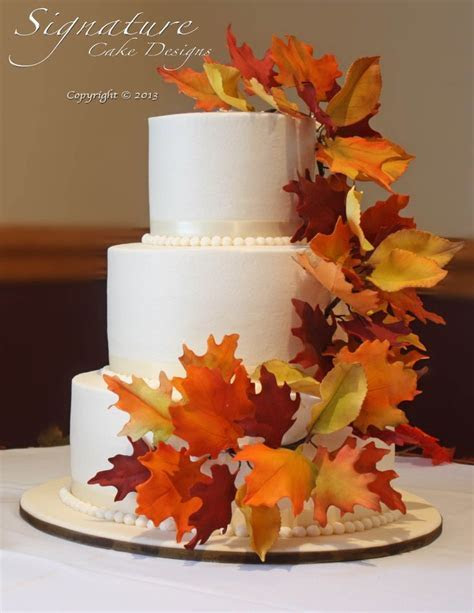 autumn wedding cakes with leaves diy   Google Search
