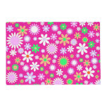 Pink Flower Power Laminated Placemat
