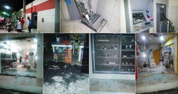 Além da agência do Bradesco, criminosos tambpem atacaram e saquearam pelo menos cinco lojas da cidade (Foto: Francisco Coelho/Focoelho.com)