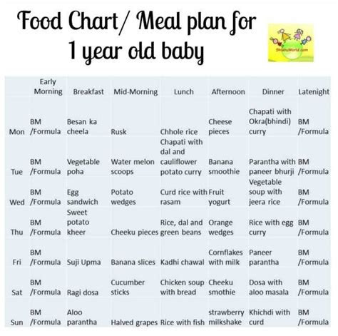 month baby food chart indian meal plan   year  baby
