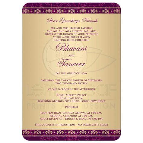Wedding Invitation   Hindu Ganesh Purple, Fuchsia, Gold