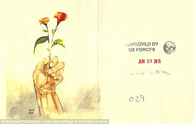 The art of the Guantanamo Bay detainees  Muhammad Ansi, Hand Holding Red Flowers, 2015 (color photocopy of original and reverse, showing stamps indicating approval for release from Guantánamo). Muhammad Ansi