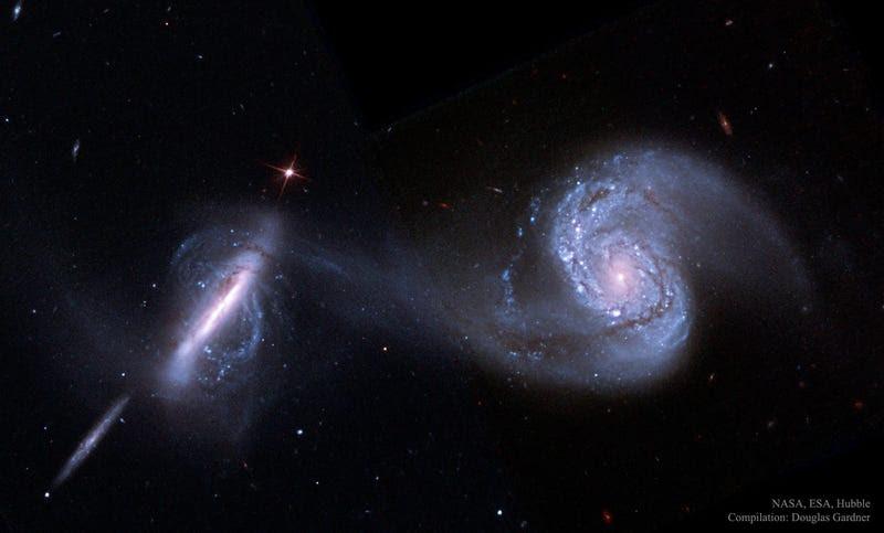 Este es el aspecto de dos galaxias que se fusionan, visto con los ojos del Hubble