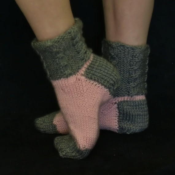 Pink and Grey House Socks