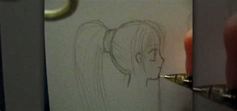 draw  female anime face  profile drawing