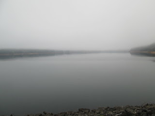 Hagg Lake from the dam. In the fog.
