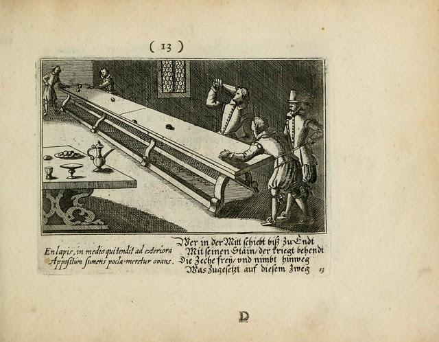 baroque engraving of table shuffleboard scene