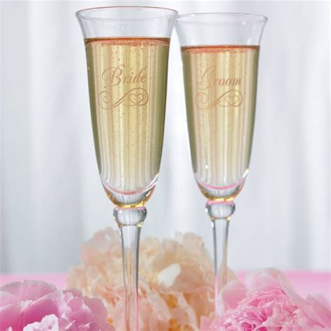 Engraved Wedding Champagne Glasses; Flutes   The Knot Shop