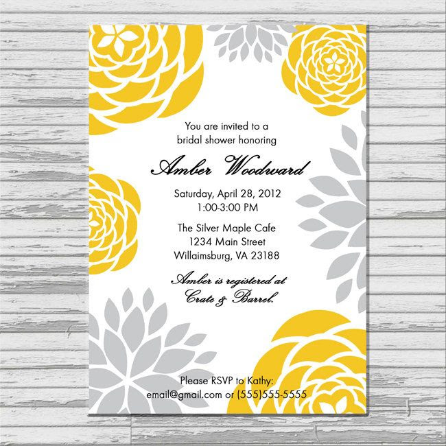 Yellow and Gray Grey Bridal Shower Invitation - customized 5x7 ...