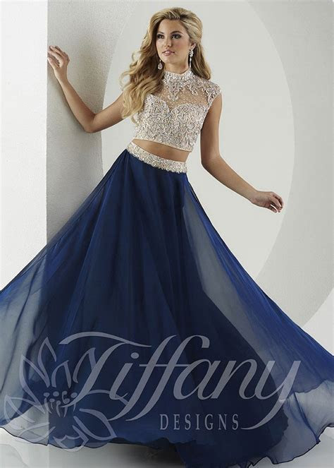 Tiffany Designs 16135 Navy Beaded Illusion Two Piece Gown