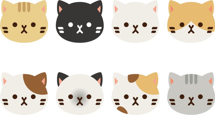 フリーイラスト 8種類の猫の顔のセットでアハ体験 Gahag 著作権