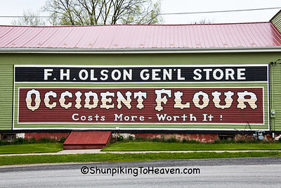F. H. Olson Generral Store with Occident Flour Sign, Knox County, Illinois