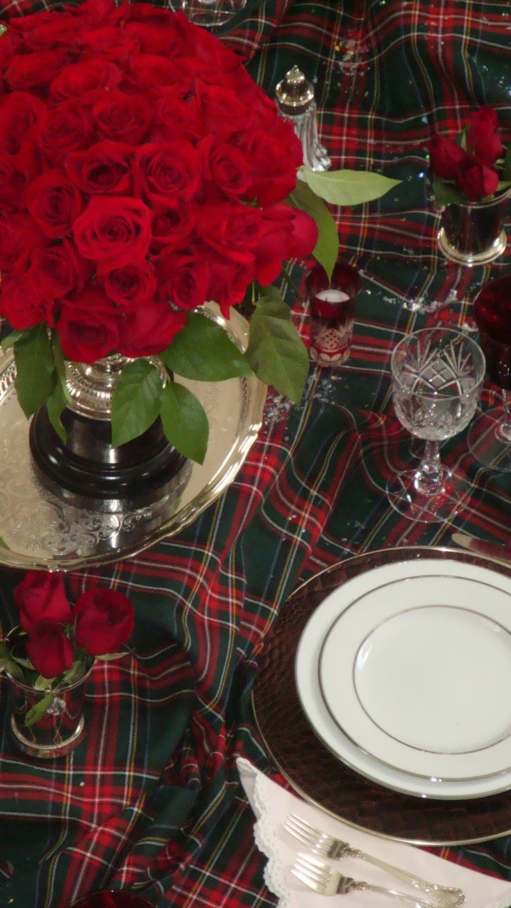 Tartan table setting looks very festive. I have  this tartan on my sofa, it looks like Princess  Mary