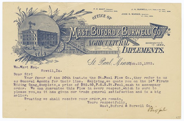 illustrated typed 1893 agricultural business letter