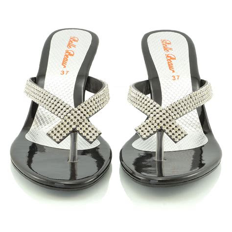 womens wedge heel flip flops sandals diamante sparkly