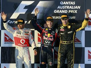 Hamilton, Vettel i Petrov, al podi d'Albert Park. (Foto: Reuters)