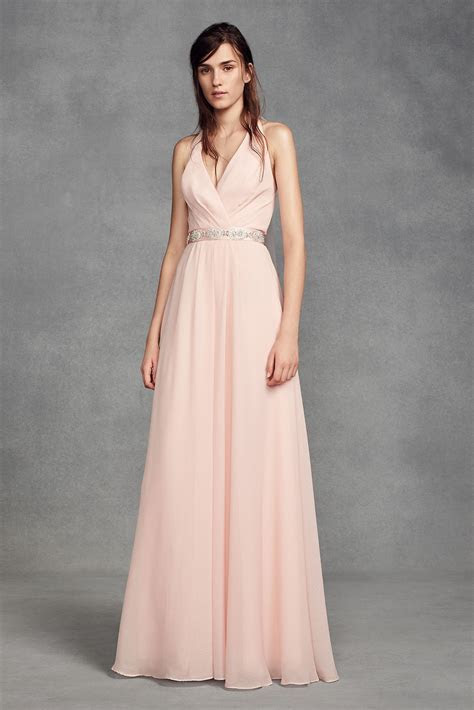 Chiffon Halter Bridesmaid Dress with Tulle Bow White by