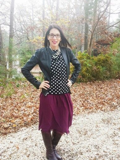 Polka-dots #landsend black leather jacket #express and marsala skirt #target burgundy boots #jessicasimpson Beauty & Style with Jill Fashion for Women Over 40 #fashion4over40 #modest #classicstyle #preppie #stylewithjill BEAUTY & FASHION TIPS