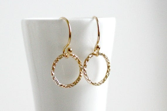 Gold Fill Textured Hoop Earrings
