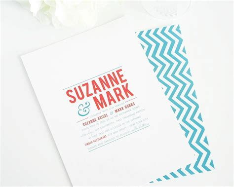 Chevron Wedding Invitations with Bold Typography ? Wedding