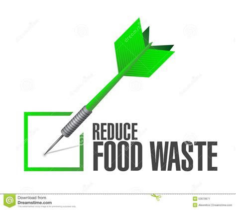 Reduce Food Waste Check Dart Sign Concept Stock