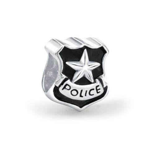 Patriotic 925 Silver Police Badge Cop Shield Bead Fits