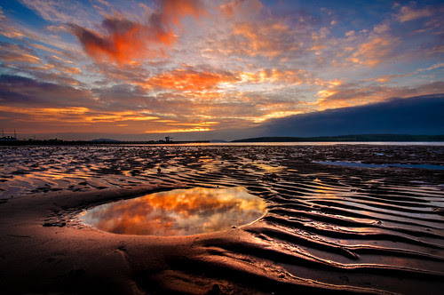 Largs Sunset Sand Ripples by g crawford