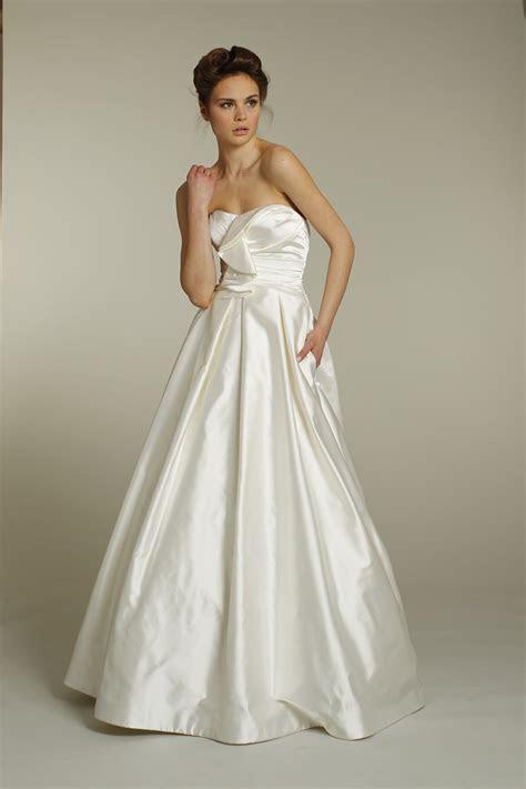 Classic strapless a line silk taffeta wedding dress by