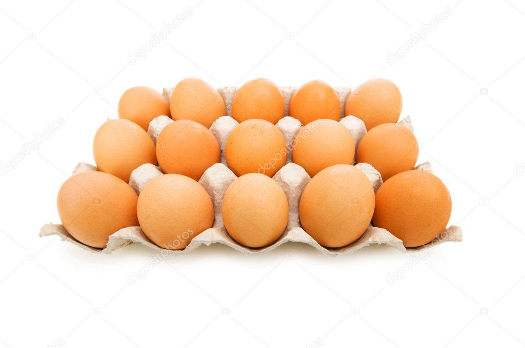 Lots of eggs in the carton isolated — Stock Photo © Elnur ...