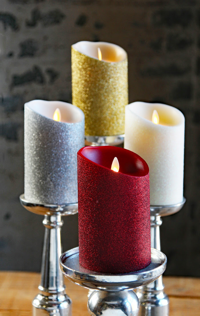Moving Flame Gold Glitter Candle Battery Operated 3.5 x 5 ...