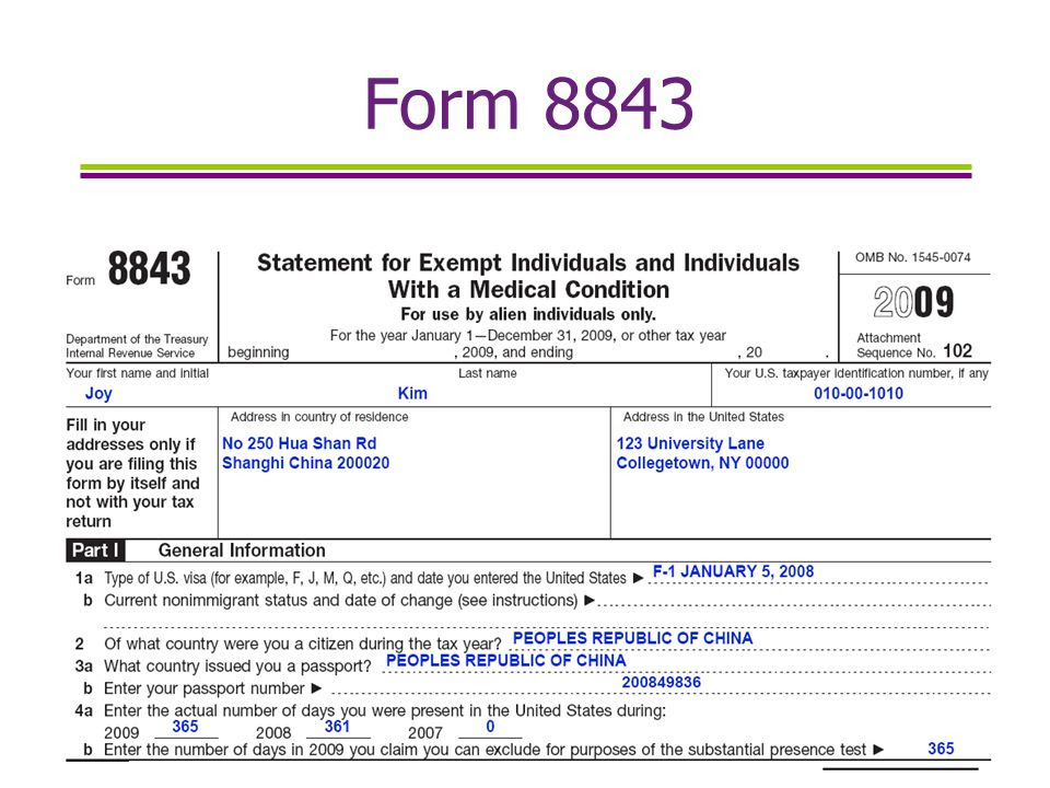 Form 8843 tax information youtube.