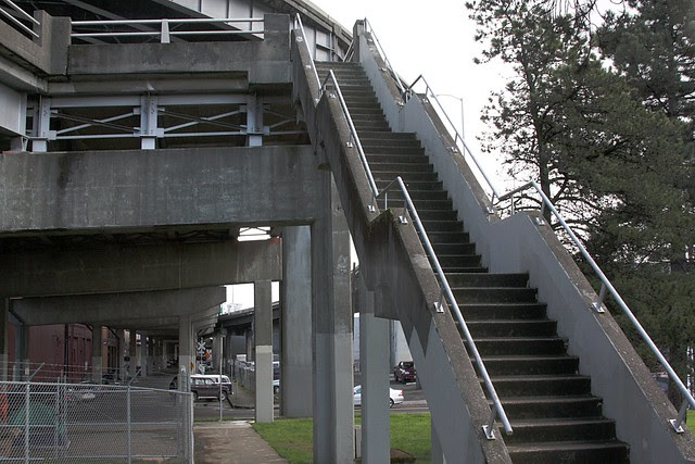 stairs to Bus Stop in the Sky, morrison bridge