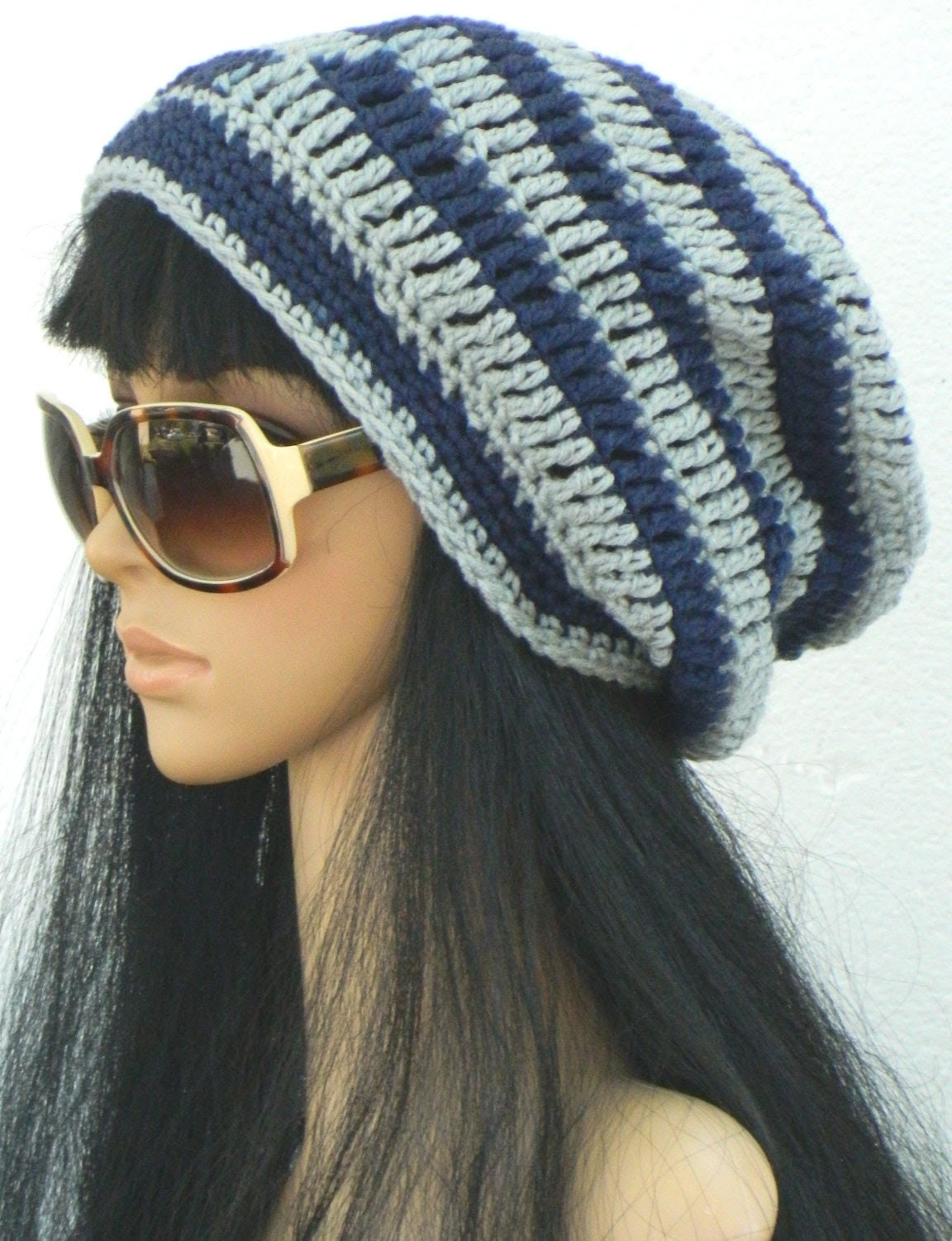 Beanie Hat Winter Slouchy Tams Berets Boho  In Navy Blue And Grey