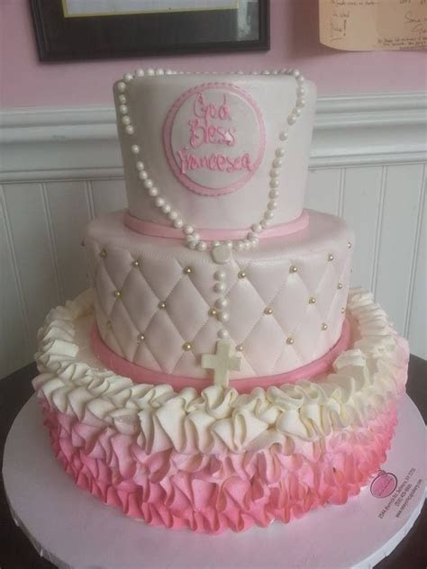Ombré girl christening cake   Cakes in 2019   Cake