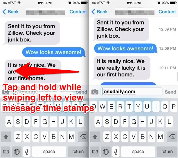 View time stamps for messages
