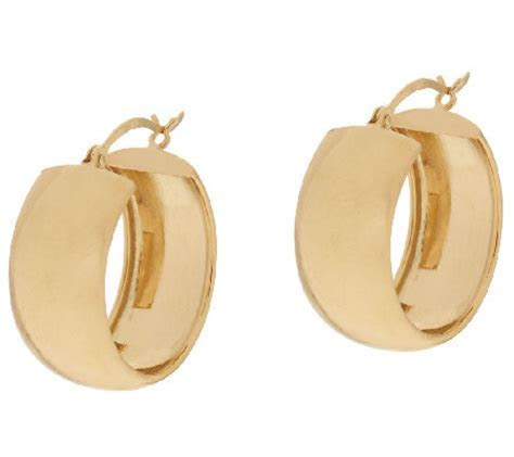 14K Gold Polished Wedding Band Style Hoop Earrings   Page