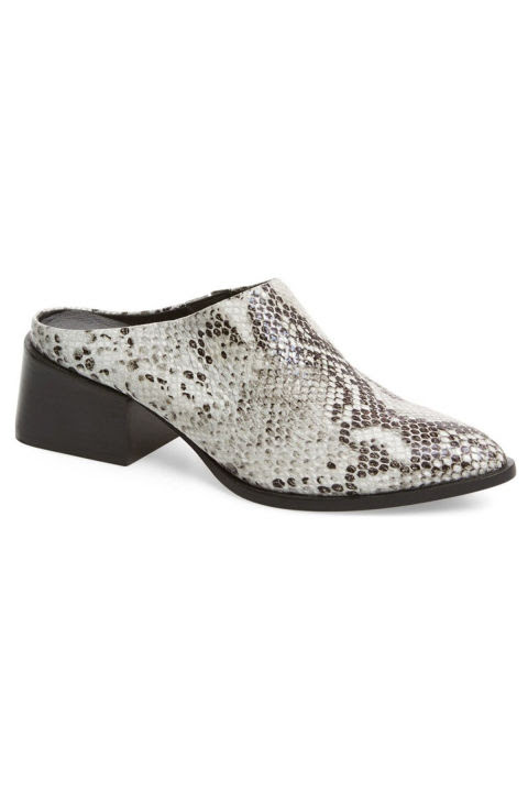 Mules are easy to kick off, yet still provide some of the coverage of a bootie (a practical option for dusty, dirty spaces). Skip the trendy white hue for an outdoors-friendly snakeskin print.Sol Sana Camille Mule, $165; nordstrom.com